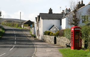 Phone box at Broughton Beck with defibrilator installed